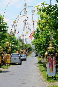 Bali street decorations for a festival