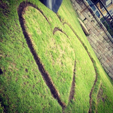 Heart mown into lawn at Bronte Beach, Sydney