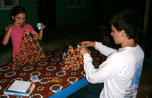 Making card towers in Nepal